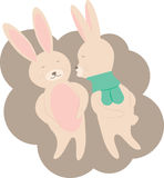 Couple Cute Rabbits Lovers Illustration Stock Photography