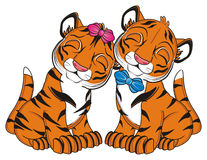 Couple of cute tigers Royalty Free Stock Photos