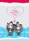 Love SHEEP Valentine. Love sheep. Valentine Day card design. Couple cutest lovers sheep sends you a love. Digital Illustration. You can also show your boyfriends stock illustration