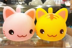 Couple of Cutie Cat Models Smiling Together. Couple of Cutie Cat Models in Pink and Yellow Smiling Together stock photo