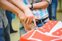 Couple Cutting Cake Royalty Free Stock Photography
