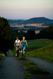Couple cycling royalty free stock photo