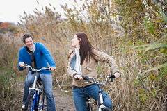 A couple cycling royalty free stock photo