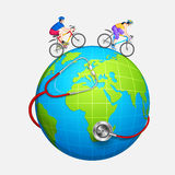 Couple cycling for fitness Royalty Free Stock Photos
