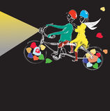 Couple Cycling. Hand drawn couple riding funny bicycle with beam of light ahead, illustration on black Stock Photo