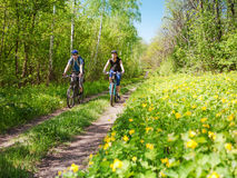 Couple cycling in spring stock photos