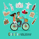 Couple on a Cycling Vacation. Riding a tandem bicycle together past a set of worldwide icons of famous tourist destinations with the text below  hand-drawn Royalty Free Stock Image