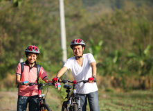 Couple cyclist Stock Images