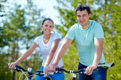 Couple of cyclists Stock Image