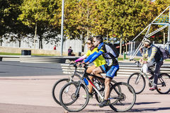 Couple of cyclists in Barcelona Stock Photos