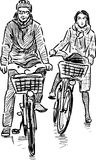Couple of the cyclists Royalty Free Stock Images