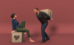 Couple. 3D picture. Royalty Free Stock Image