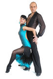 Couple dancers latina style. Posing on white background Stock Images