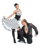 Couple dancers latina style. Posing on white background Stock Photography