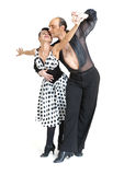 Couple dancers latina style. Posing isolated on white background Royalty Free Stock Photo