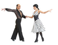 Couple dancers latina style. Posing isolated on white background Stock Photo