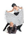 Couple dancers latina style. Posing on white background Royalty Free Stock Image