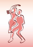 Couple of Dancers - Man and Woman Silhouettes Stock Photos