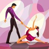 Couple dancers in romantic scene. Illustration Stock Images