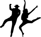 Couple of Dancers Silhouette on Stock Photography