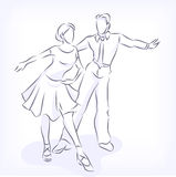 Couple dances latin fast ballroom dances. Latin fast ballroom dances. Man and woman passionately dance. Young couple takes part at competitions. Hand vector Royalty Free Stock Photos