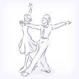 Couple dances latin fast ballroom dances. Latin fast ballroom dances. Man and woman passionately dance. Young couple takes part at competitions. Hand vector Royalty Free Stock Images