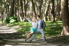 Couple dancin in the forest Royalty Free Stock Photo