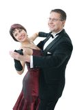 Couple dancing. Attractive couple dancing. Isolated over white Royalty Free Stock Image
