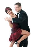 Couple dancing. Attractive couple dancing. Isolated over white Royalty Free Stock Photography
