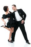 Couple dancing. Attractive couple dancing. Isolated over white Stock Photography