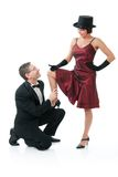 Couple dancing. Attractive couple dancing. Isolated over white Royalty Free Stock Photo