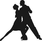 Couple dancing. Silhouette of a couple dancing Stock Photo