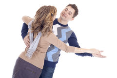 Couple dancing. Happy couple dancing in a studio Royalty Free Stock Photos