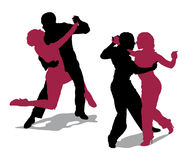 Couple dancing argentine tango. Detailed silhouettes of couple dancing argentine tango Royalty Free Stock Photo