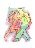 Couple dancing Argentine Tango. Hand drawn watercolor illustration of Couple dancing Argentine Tango Royalty Free Stock Photo