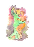 Couple dancing Argentine Tango. Hand drawn watercolor illustration of Couple dancing Argentine Tango Royalty Free Stock Images