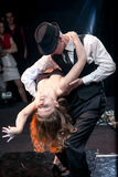 Couple dancing argentinian tango on stage Stock Photography