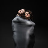 Couple dancing contemporary over background of souls Stock Photo