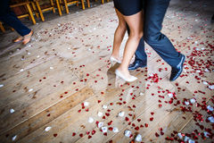 Couple dancing on a dance floor during a wedding celebration Stock Photo