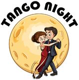 Couple dancing on fullmoon night vector illustration