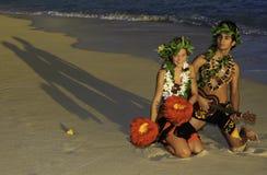 Couple dancing hula royalty free stock photo