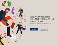 Couple dancing Kizomba in bright costumes. Vector illustration of partners dance bachata, happy peoples man and woman Stock Image
