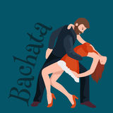 Couple dancing Kizomba in bright costumes. Vector illustration of partners dance bachata, happy peoples man and woman Stock Photography