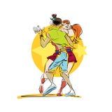 Couple dancing Latin American dance. Man and woman in love. Tango Lambada Rumba waltz dance. Thick partner Royalty Free Stock Images
