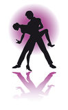 Couple Dancing Latino /  eps. Silhouette of a couple dancing Latino Royalty Free Stock Images