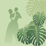 Couple dancing in a monstera garden. Tropical background. Retro style. Vector Illustration Stock Images