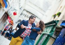 Couple dancing on Montmartre royalty free stock photography