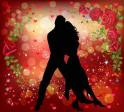 Couple dancing in a romantic background. Vector illustration of a romantic couple dancing in a valentine background Royalty Free Stock Photography