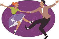 Couple dancing 1950s style rock and roll. Young couple dressed in 1950s fashion dancing rock and roll or boogie, vector illustration, no transparencies, EPS 8 stock illustration