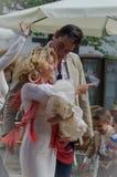 Couple dancing sevillanas in the Crosses of Granada in May 2013 stock image